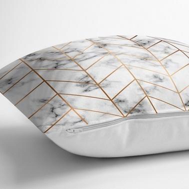 Real Homes Modern Çizgi ve Mermer Tasarımlı 3'lü Kırlent Kılıfı Seti Renkli